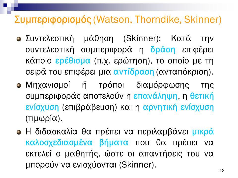 Συμπεριφορισμός (Watson, Thorndike, Skinner)