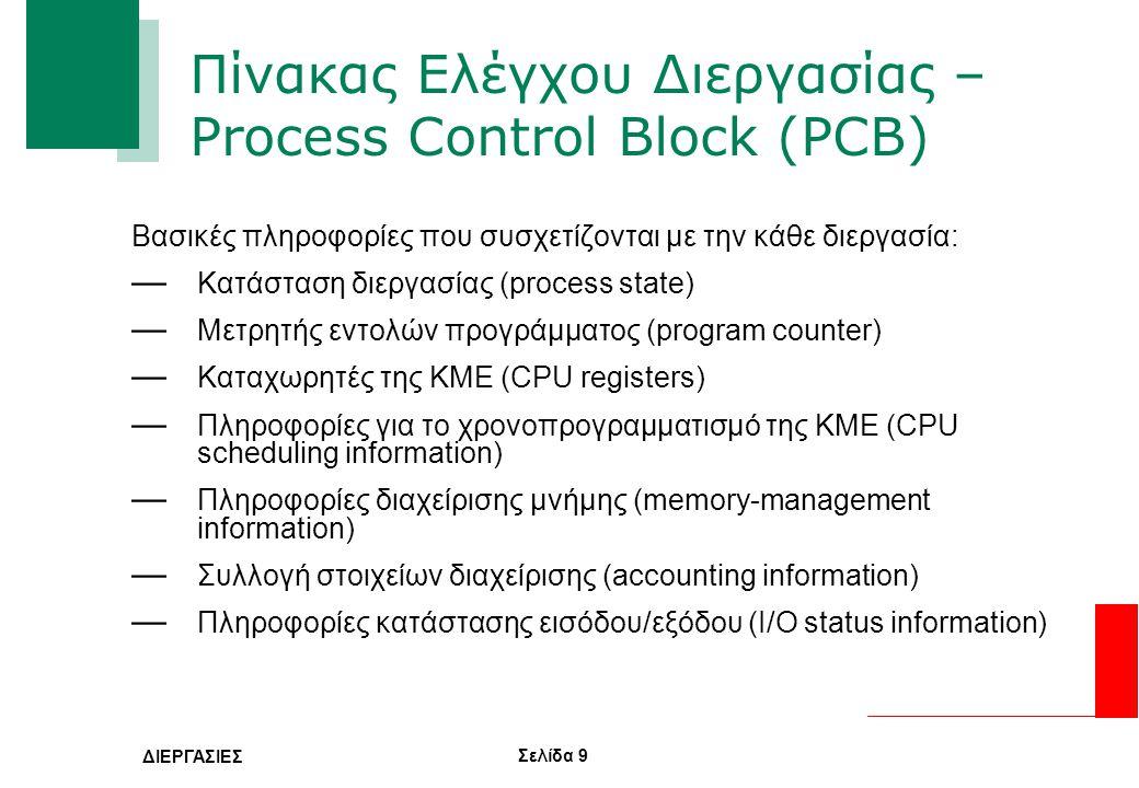 Πίνακας Ελέγχου Διεργασίας – Process Control Block (PCB)