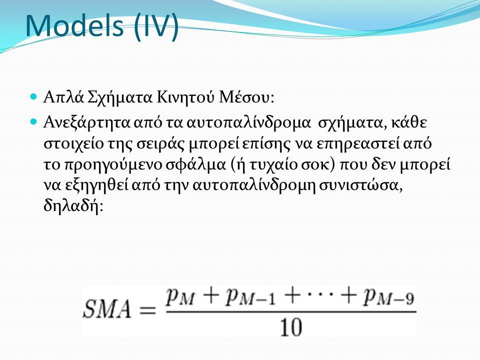 Models (IV) Απλά Σχήματα Κινητού Μέσου: