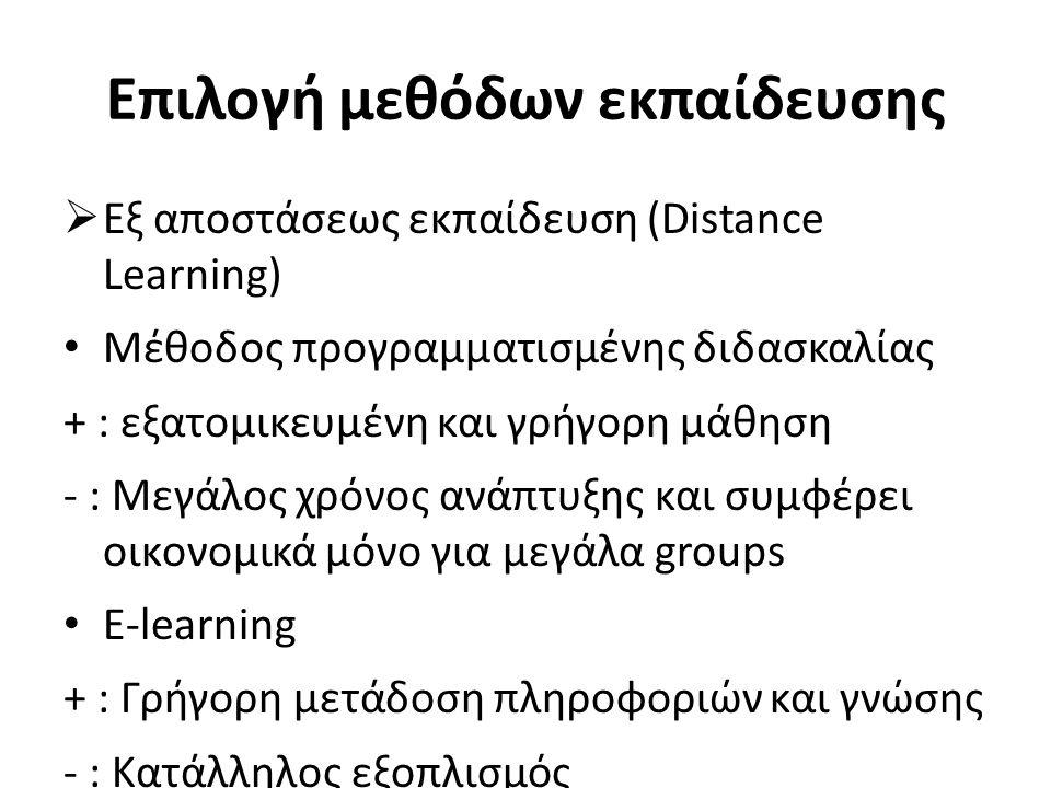 Επιλογή μεθόδων εκπαίδευσης