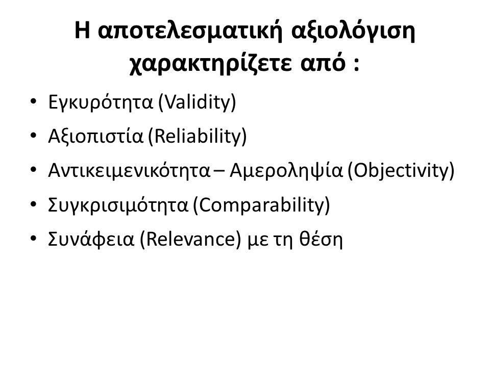 Η αποτελεσματική αξιoλόγιση χαρακτηρίζετε από :