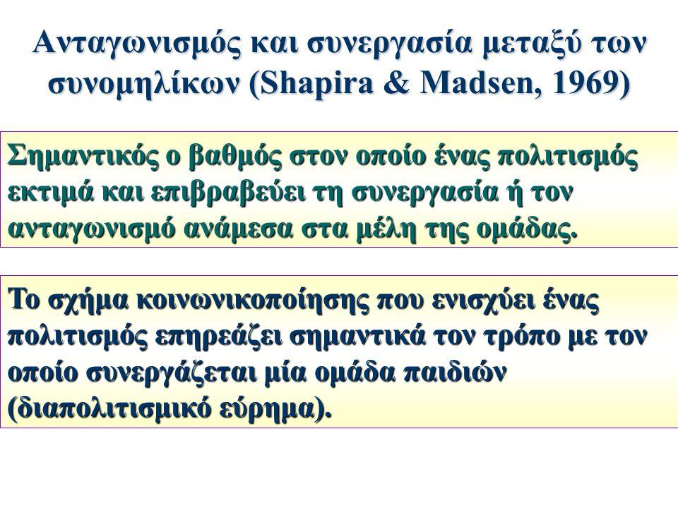 Ανταγωνισμός και συνεργασία μεταξύ των συνομηλίκων (Shapira & Madsen, 1969)