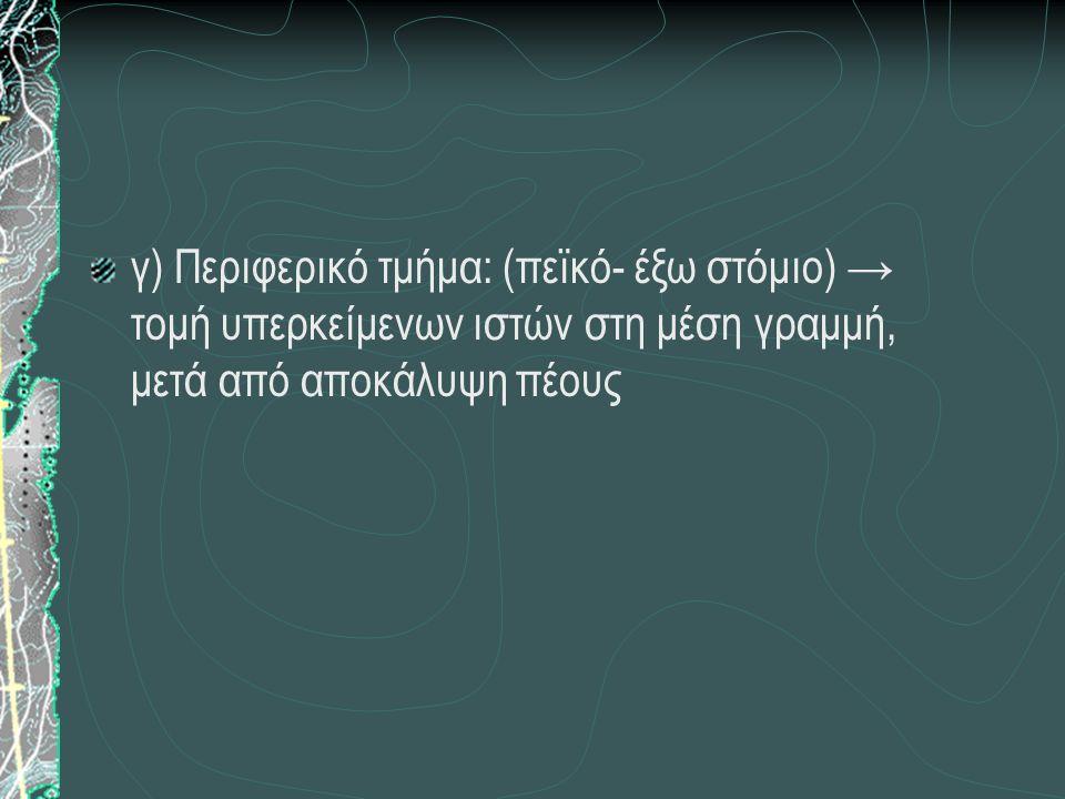γ) Περιφερικό τμήμα: (πεϊκό- έξω στόμιο) → τομή υπερκείμενων ιστών στη μέση γραμμή, μετά από αποκάλυψη πέους