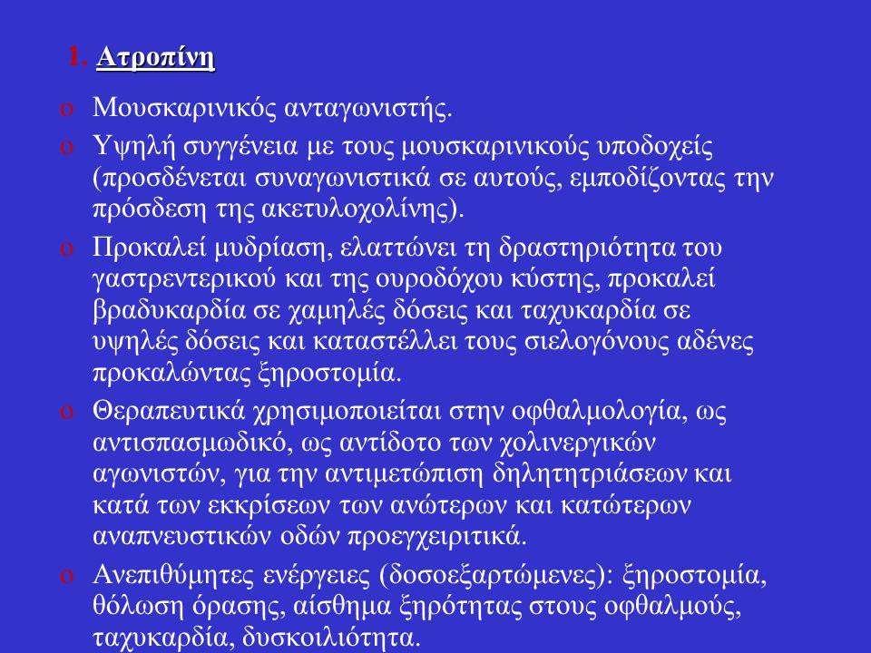 1. Ατροπίνη Μουσκαρινικός ανταγωνιστής.