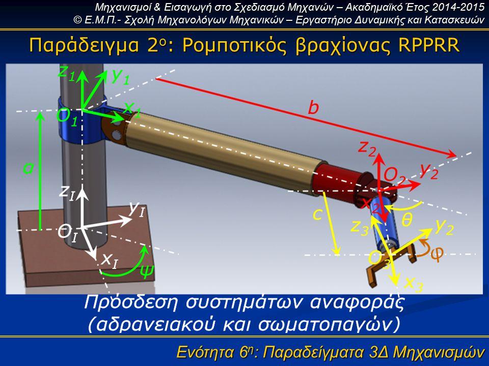 Παράδειγμα 2ο: Ρομποτικός βραχίονας RPPRR