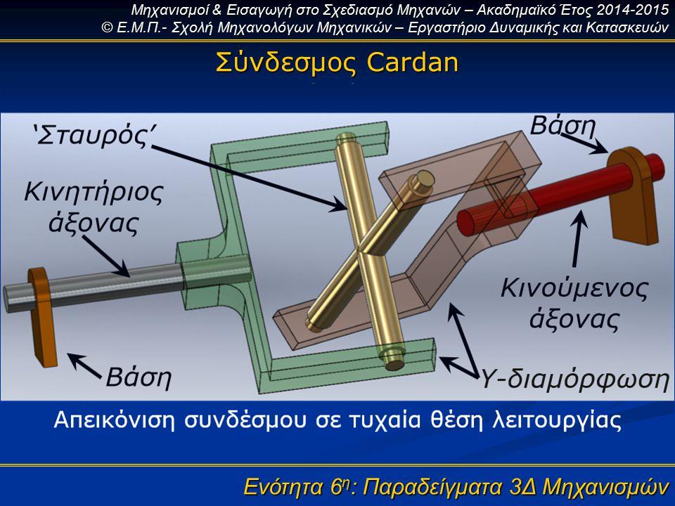 Σύνδεσμος Cardan Ενότητα 6η: Παραδείγματα 3Δ Μηχανισμών