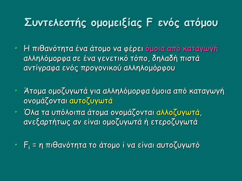 Συντελεστής ομομειξίας F ενός ατόμου