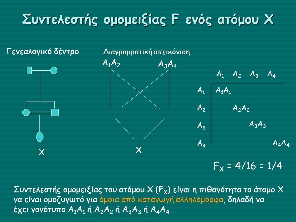Συντελεστής ομομειξίας F ενός ατόμου Χ