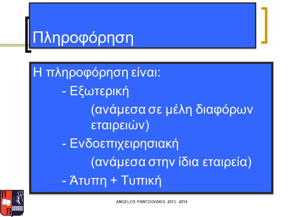 Πληροφόρηση Η πληροφόρηση είναι: - Εξωτερική