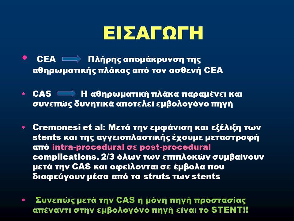 ΕΙΣΑΓΩΓΗ CEA Πλήρης απομάκρυνση της αθηρωματικής πλάκας από τον ασθενή CEA.