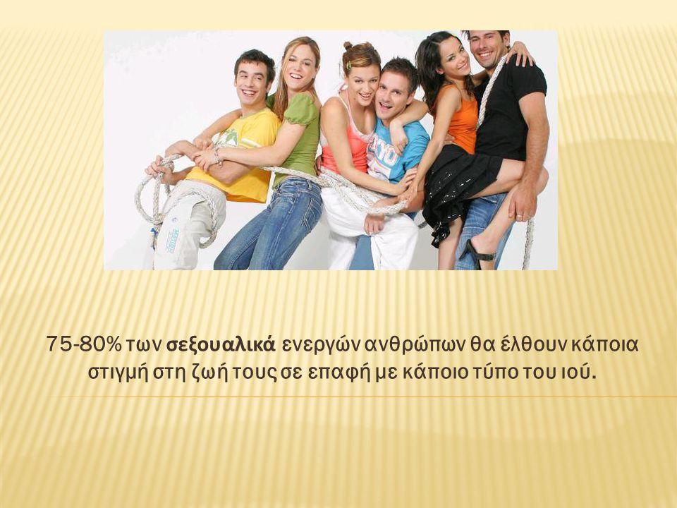 75-80% των σεξουαλικά ενεργών ανθρώπων θα έλθουν κάποια στιγμή στη ζωή τους σε επαφή με κάποιο τύπο του ιού.