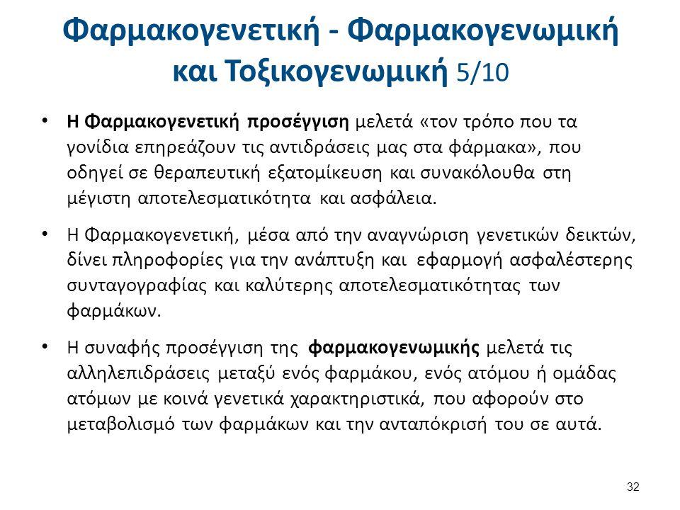 Φαρμακογενετική - Φαρμακογενωμική και Τοξικογενωμική 6/10