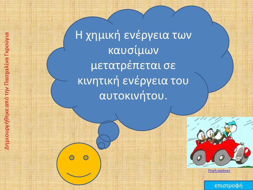 Η χημική ενέργεια των καυσίμων μετατρέπεται σε κινητική ενέργεια του αυτοκινήτου.