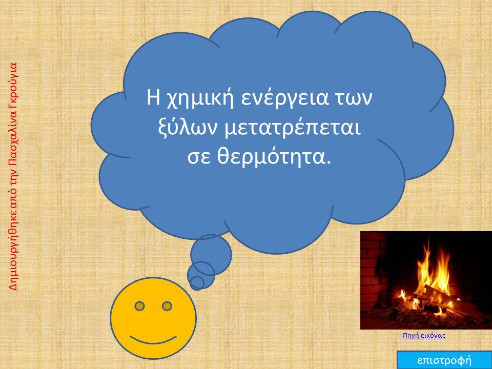 Η χημική ενέργεια των ξύλων μετατρέπεται σε θερμότητα.