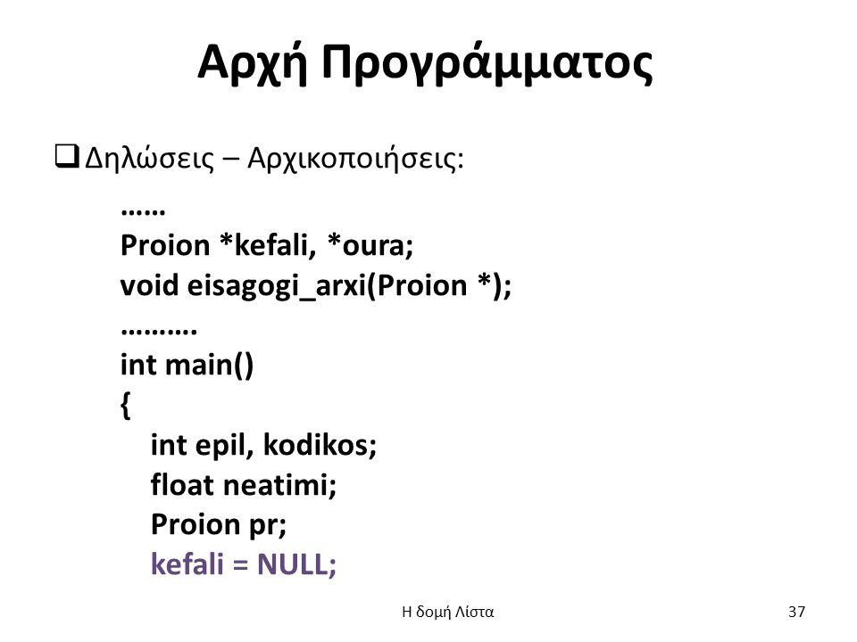 Αρχή Προγράμματος Δηλώσεις – Αρχικοποιήσεις: …… Proion *kefali, *oura;