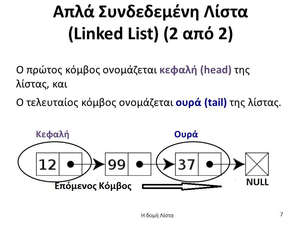 Απλά Συνδεδεμένη Λίστα (Linked List) (2 από 2)