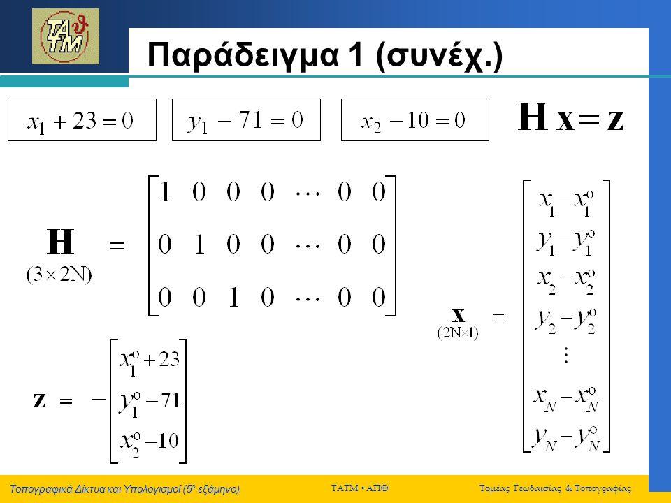 Παράδειγμα 1 (συνέχ.)