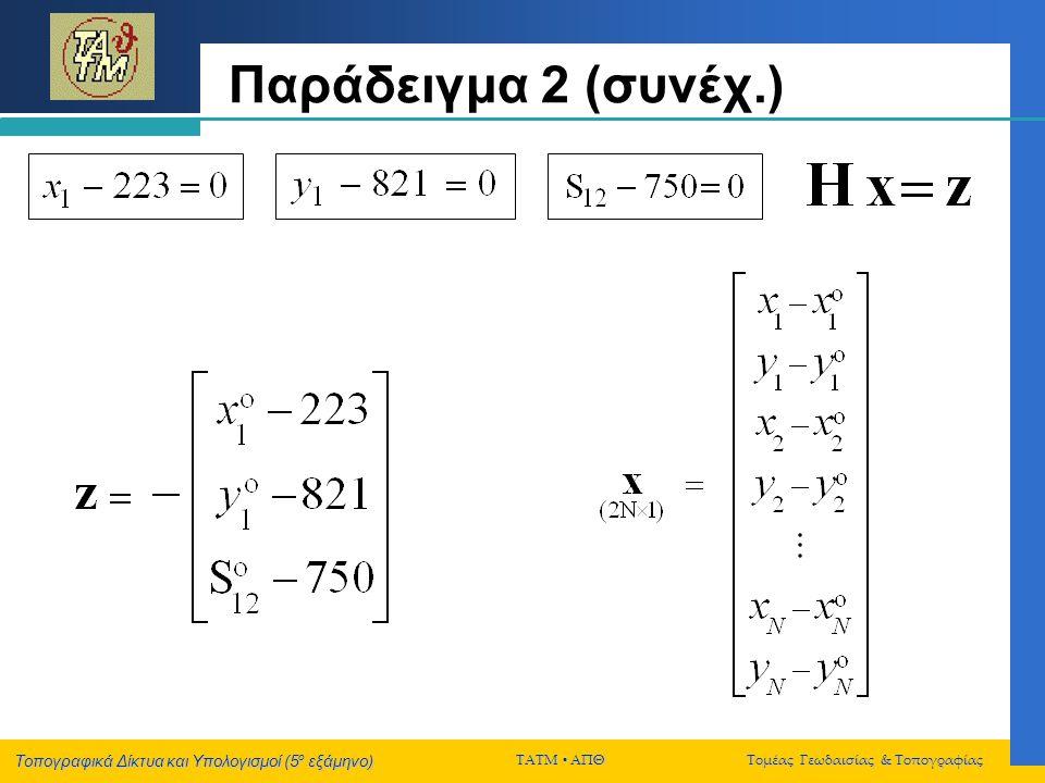 Παράδειγμα 2 (συνέχ.)
