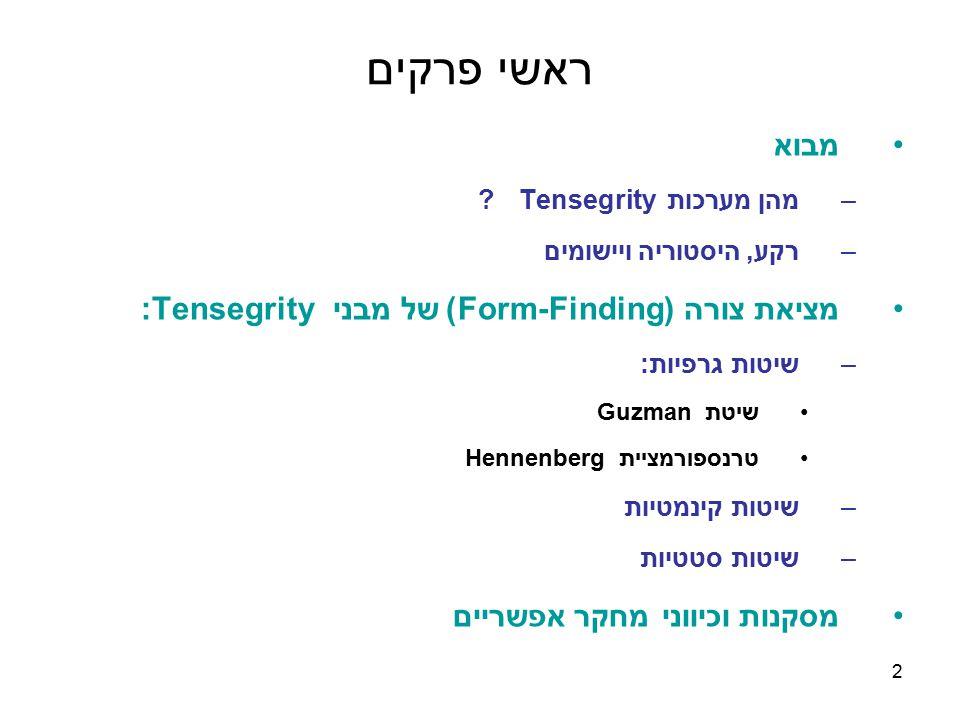 ראשי פרקים מבוא מציאת צורה (Form-Finding) של מבני Tensegrity: