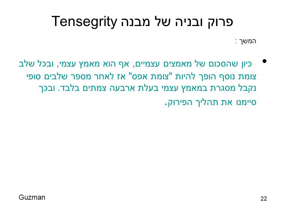 פרוק ובניה של מבנה Tensegrity