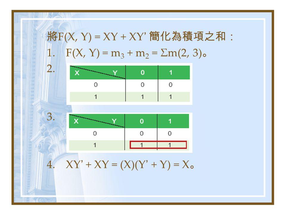 將F(X, Y) = XY + XY' 簡化為積項之和: