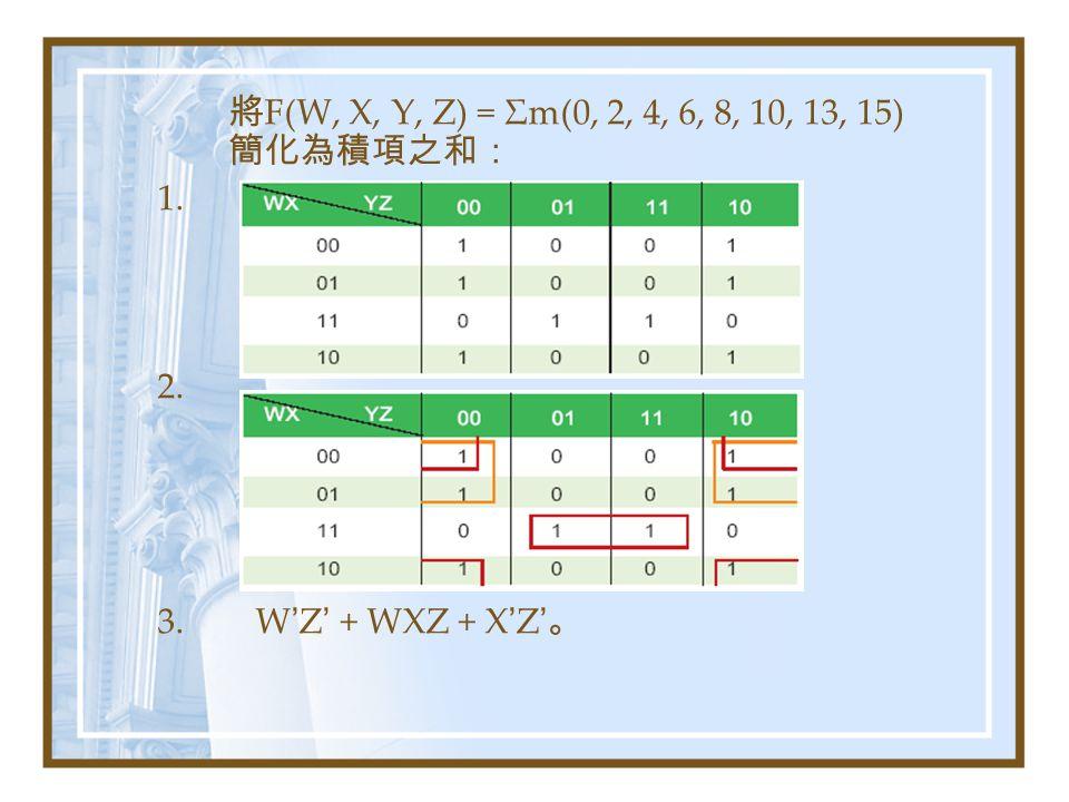 將F(W, X, Y, Z) = Σm(0, 2, 4, 6, 8, 10, 13, 15) 簡化為積項之和:
