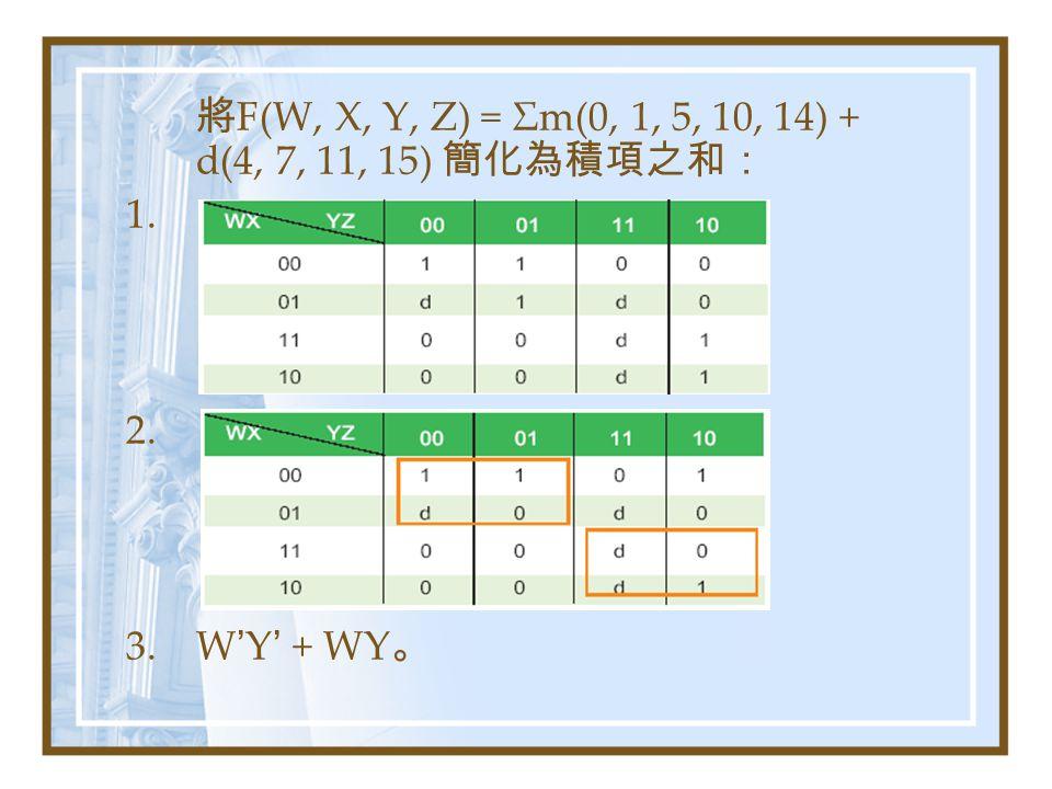 將F(W, X, Y, Z) = Σm(0, 1, 5, 10, 14) + d(4, 7, 11, 15) 簡化為積項之和:
