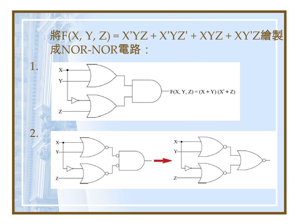將F(X, Y, Z) = X'YZ + X'YZ' + XYZ + XY'Z繪製成NOR-NOR電路: