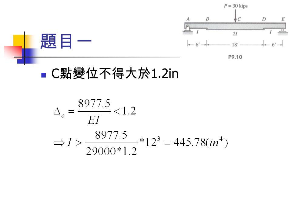 題目一 C點變位不得大於1.2in