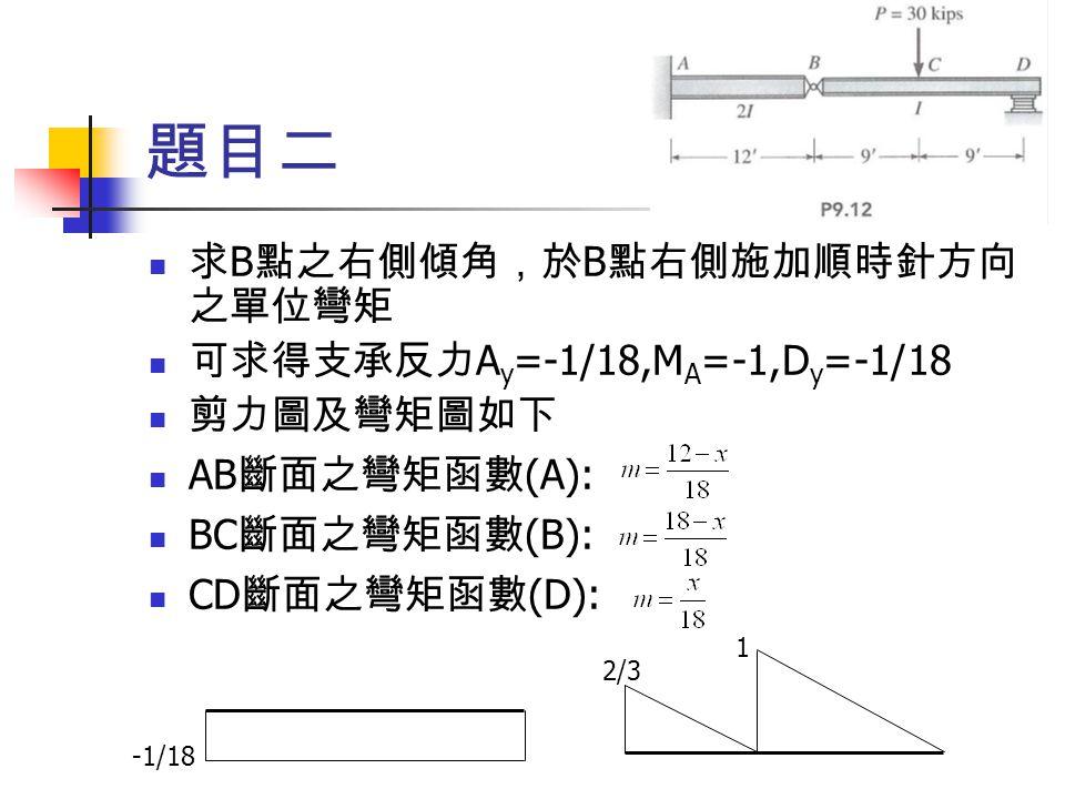 題目二 求B點之右側傾角,於B點右側施加順時針方向之單位彎矩 可求得支承反力Ay=-1/18,MA=-1,Dy=-1/18