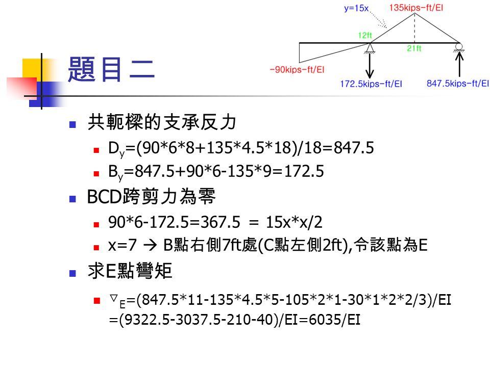 題目二 共軛樑的支承反力 BCD跨剪力為零 求E點彎矩