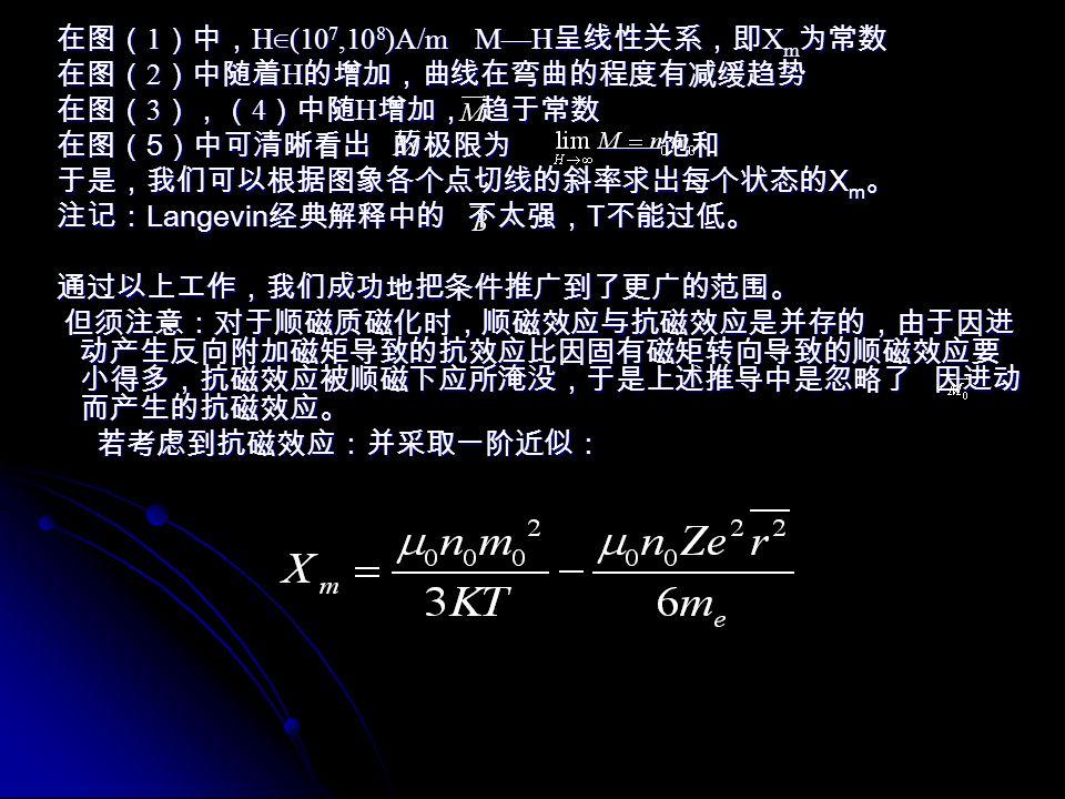 在图(1)中,H∈(107,108)A/m M—H呈线性关系,即Xm为常数