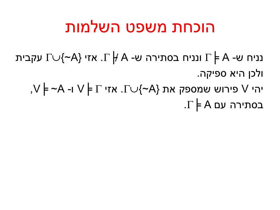 הוכחת משפט השלמות נניח ש- ╞ A ונניח בסתירה ש- ├ A. אזי {~A} עקבית