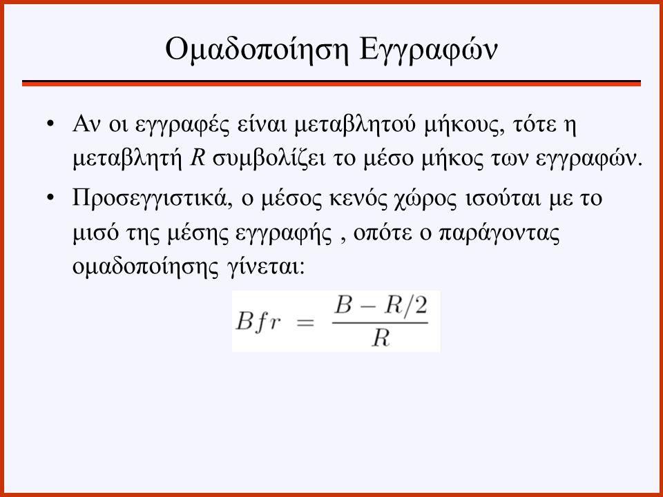 Ομαδοποίηση Εγγραφών Αν οι εγγραφές είναι μεταβλητού μήκους, τότε η μεταβλητή R συμβολίζει το μέσο μήκος των εγγραφών.