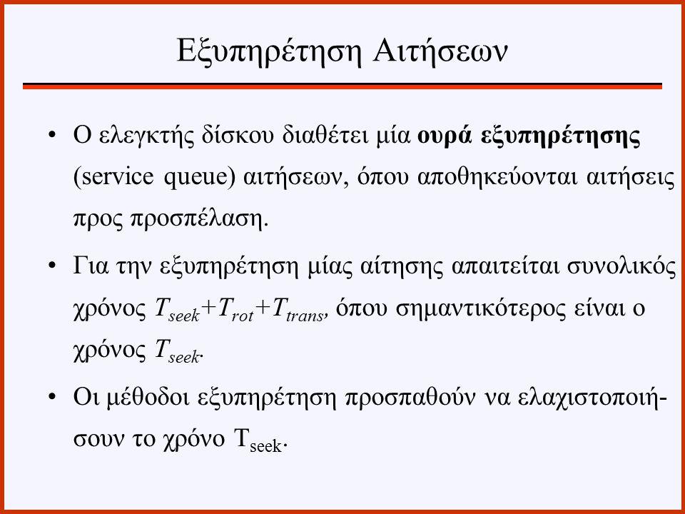 Εξυπηρέτηση Αιτήσεων Ο ελεγκτής δίσκου διαθέτει μία ουρά εξυπηρέτησης (service queue) αιτήσεων, όπου αποθηκεύονται αιτήσεις προς προσπέλαση.