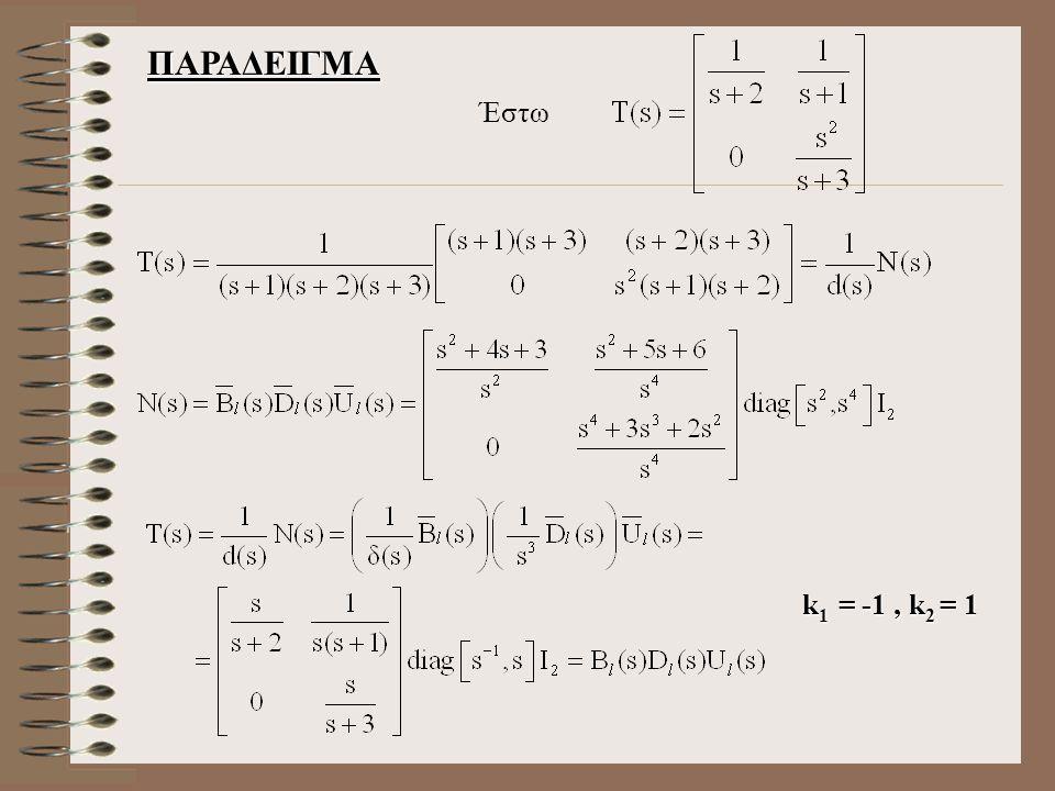 ΠΑΡΑΔΕΙΓΜΑ Έστω k1 = -1 , k2 = 1