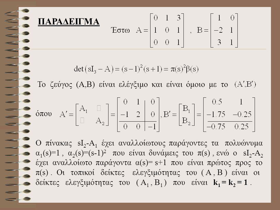 ΠΑΡΑΔΕΙΓΜΑ Το ζεύγος (Α,Β) είναι ελέγξιμο και είναι όμοιο με το όπου