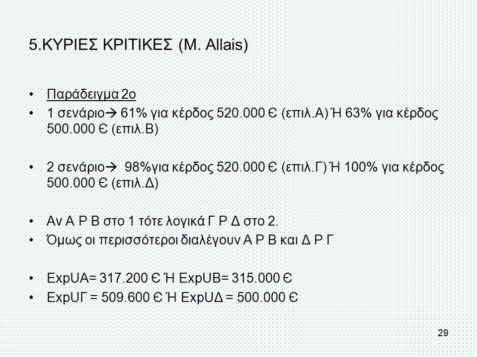 5.ΚΥΡΙΕΣ ΚΡΙΤΙΚΕΣ (Μ. Allais)