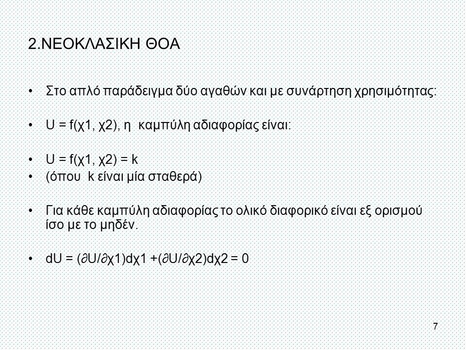 2.ΝΕΟΚΛΑΣΙΚΗ ΘΟΑ Στο απλό παράδειγμα δύο αγαθών και με συνάρτηση χρησιμότητας: U = f(χ1, χ2), η καμπύλη αδιαφορίας είναι: