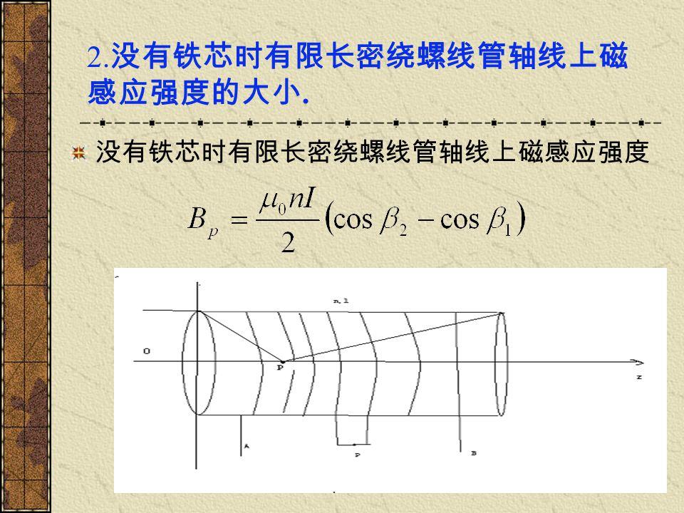 2.没有铁芯时有限长密绕螺线管轴线上磁感应强度的大小.