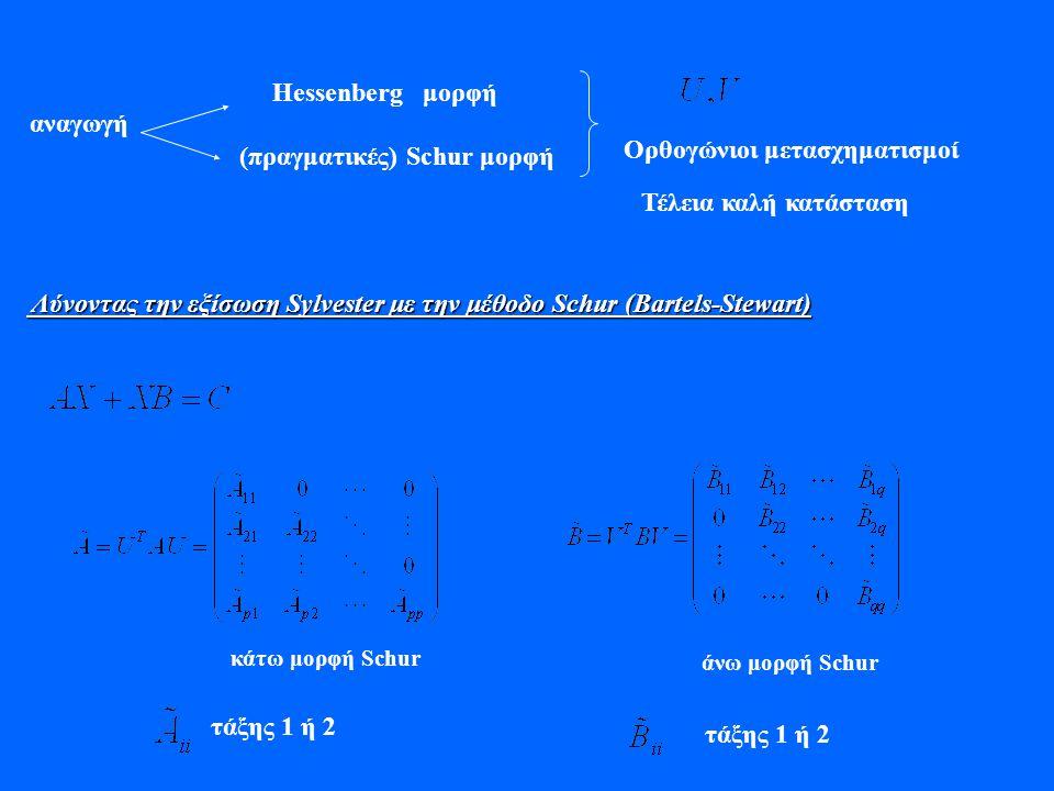(πραγματικές) Schur μορφή αναγωγή Ορθογώνιοι μετασχηματισμοί