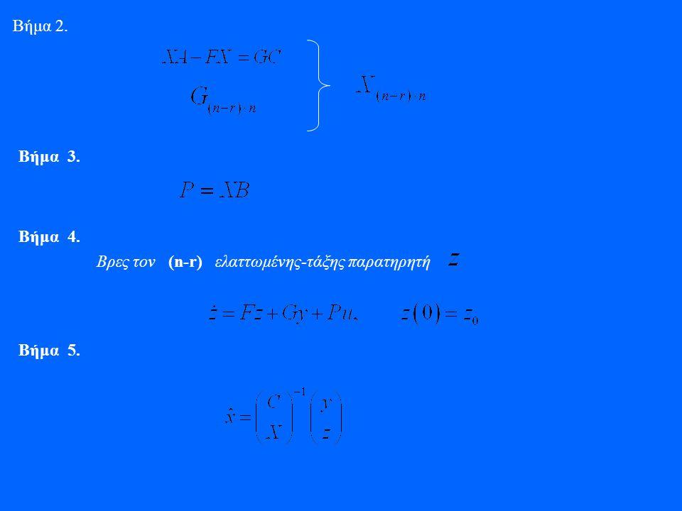 Βήμα 2. Βήμα 3. Βήμα 4. Βρες τον (n-r) ελαττωμένης-τάξης παρατηρητή Βήμα 5.