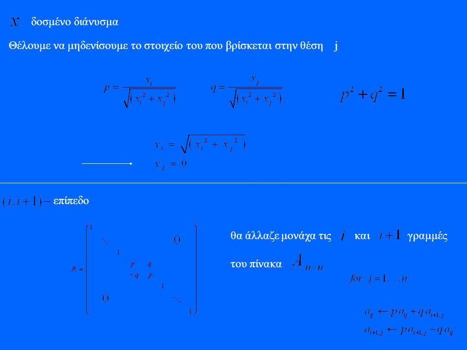 δοσμένο διάνυσμα Θέλουμε να μηδενίσουμε το στοιχείο του που βρίσκεται στην θέση j. επίπεδο. θα άλλαζε μονάχα τις και γραμμές.
