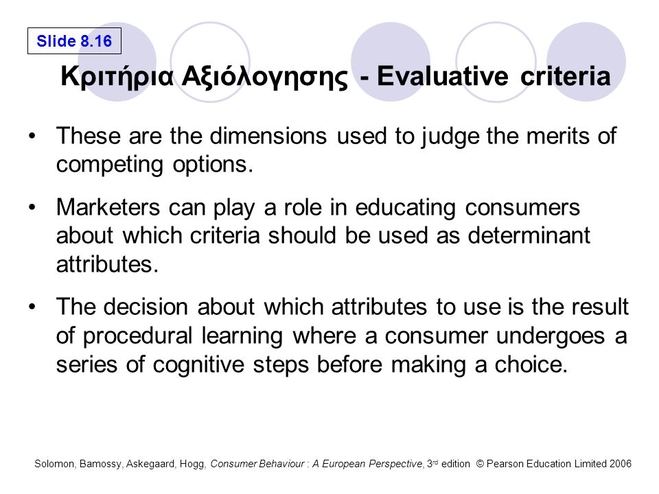 Κριτήρια Αξιόλογησης - Evaluative criteria