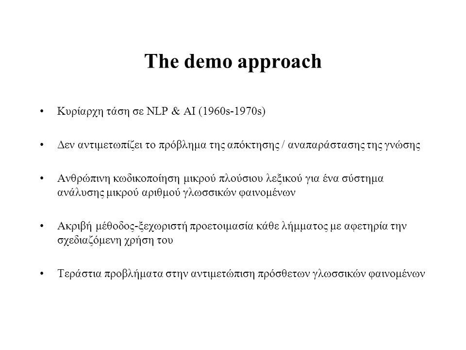 The demo approach Κυρίαρχη τάση σε NLP & AI (1960s-1970s)
