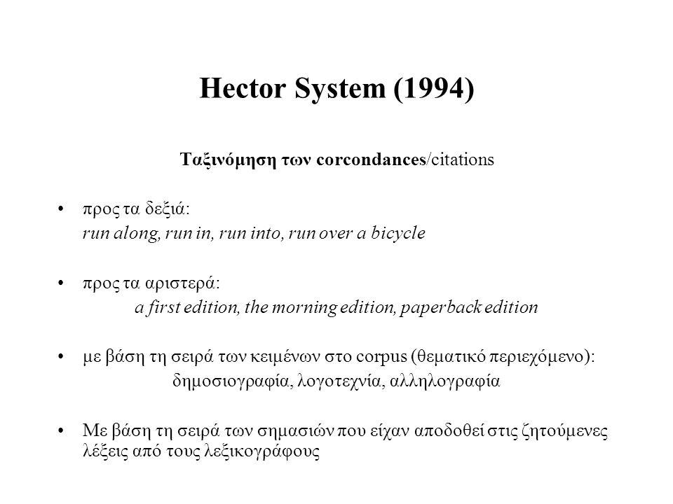 Hector System (1994) Ταξινόμηση των corcondances/citations