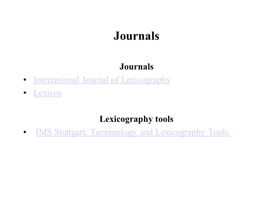 Journals Journals International Journal of Lexicography Lexicos