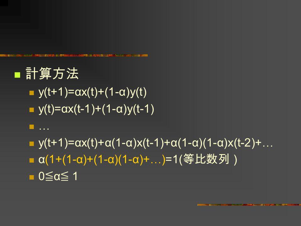 計算方法 y(t+1)=αx(t)+(1-α)y(t) y(t)=αx(t-1)+(1-α)y(t-1) …