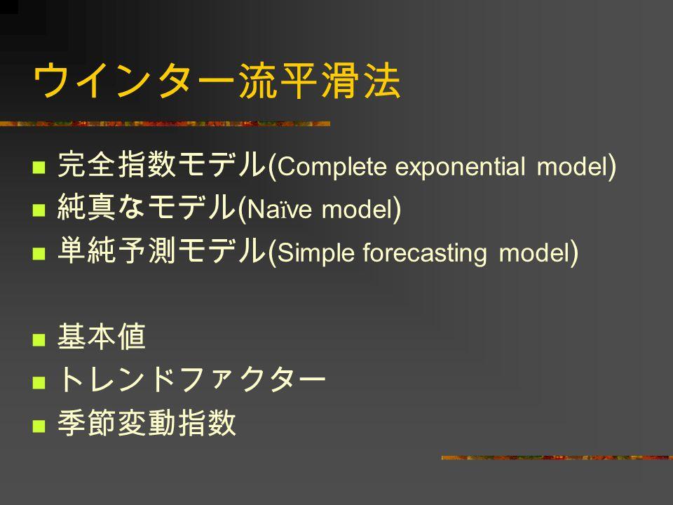 ウインター流平滑法 完全指数モデル(Complete exponential model) 純真なモデル(Naïve model)