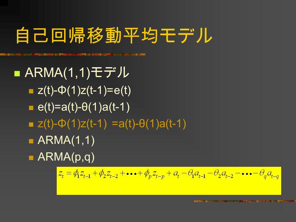 自己回帰移動平均モデル ARMA(1,1)モデル z(t)-Φ(1)z(t-1)=e(t) e(t)=a(t)-θ(1)a(t-1)